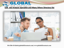 USA  Job Analysis Specialist and Many Others Directory list