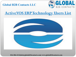 ActiveVOS ERP Technology Users List