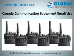 Canada Communication Equipment Email List