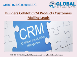 Builders CoPilot CRM Products Customers Mailing Leads