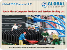 South Africa Computer Products and Services Mailing List