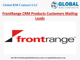 FrontRange CRM Products Customers Mailing Leads