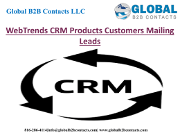 WebTrends CRM Products Customers Mailing Leads