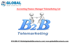 Accounting Finance Manager Telemarketing List