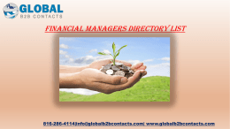 Financial Managers Directory List