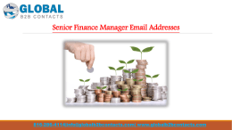 Senior Finance Manager Email Addresses