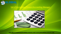 List of AccountingFinanceAccounting Manager