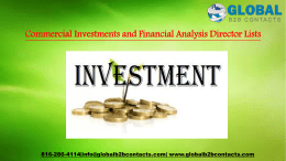 Commercial Investments and Financial Analysis Director Lists