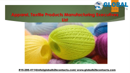 Apparel, Textile Products Manufacturing Executives List