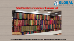Retail Textile Store Manager Business List