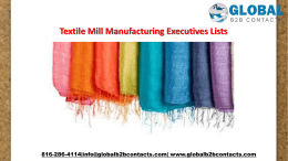 Textile Mill Manufacturing Executives Lists