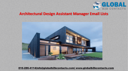 Architectural Design Assistant Manager Email Lists