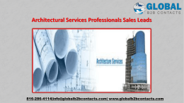 Architectural Services Professionals Sales Leads