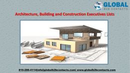 Architecture, Building and Construction Executives Lists