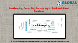 Bookkeeping, Controller, Accounting Professionals Email Database