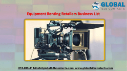 Equipment Renting Retailers Business List