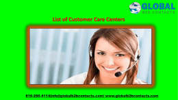 List of Customer Care Centers