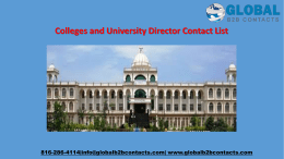 Colleges and University Director Contact List