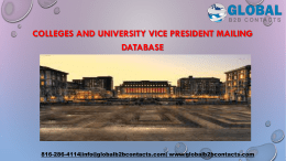 Colleges and University Vice President Mailing Database