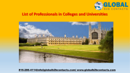 List of Professionals in Colleges and Universities